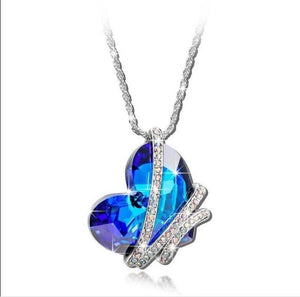 New Arrival Romantic Blue Heart Pendant Necklace Silver Plated Crystal The Heartintothea-intothea