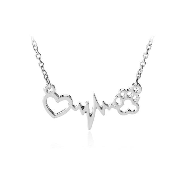 Cute Animal Vintage Jewelry Necklaces Silver Love Cats And Dogs Paws Loveintothea-intothea
