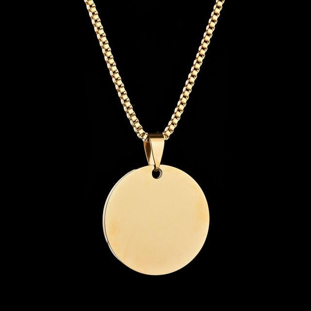 Personalized Name Engraved Gold Color Discs Monogram Pendant DIY Custom Love Necklaceintothea-intothea
