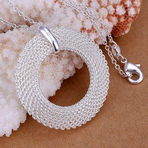 fashion jewelry pendant Necklace, 925 jewelry silver plated necklace circle pendant necklaceintothea-intothea