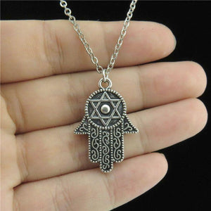 GLOWCAT Q8A04 Silver Alloy Men Jewelry 28mm Star of David Hamsa Handintothea-intothea