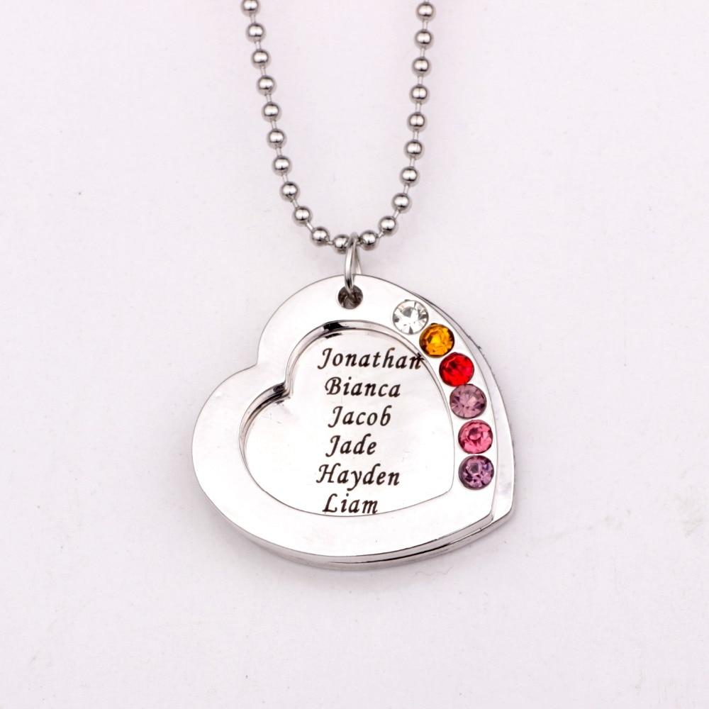 Family Heart Pendant Necklace with Birthstones Birthstones Long Necklaces Jewelryintothea-intothea