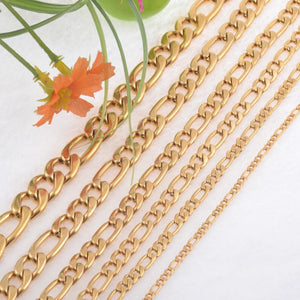 Gold Color 6.0mm Width Stainless Steel Figaro Chain Men Curb Link Chainsintothea-intothea