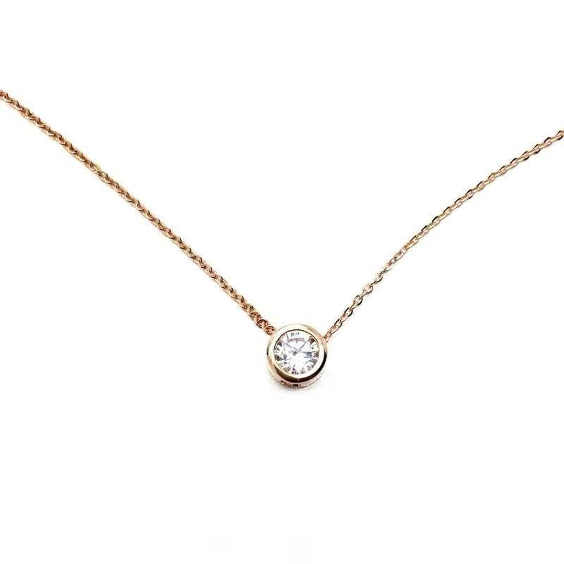 Simple Rose Gold-color Zircon Short Necklace Women Necklaces & Pendants Fashion Jewelryintothea-intothea