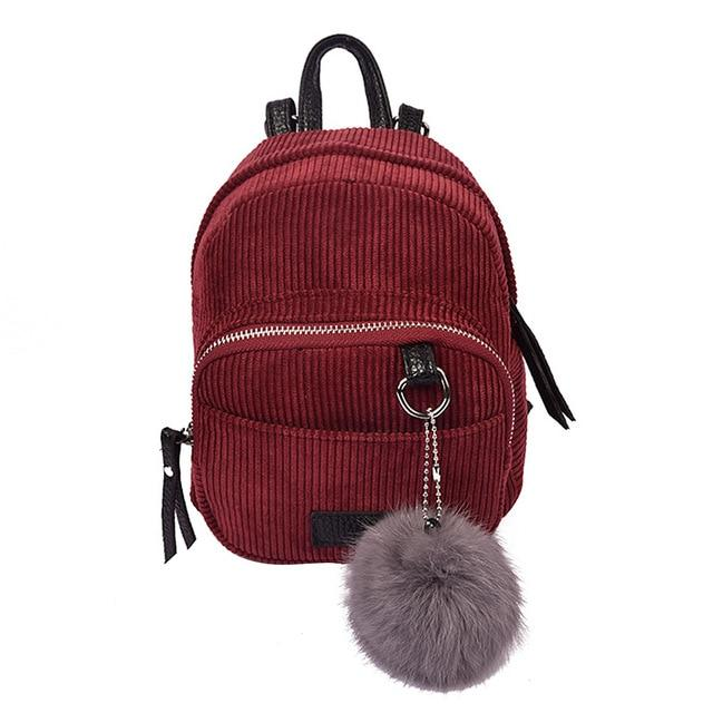 New Fashion Spring Women Backpacks Corduroy Simple Mini Rucksack Girls Casual Schoolintothea-intothea