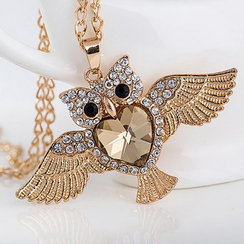 Vintage 4.5x8cm Owl Charms Pendant Necklace Animal Jewelry with Crystal Rhinestone Accessoriesintothea-intothea
