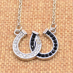 Horse Hoof Necklace Lucky Rhinestone Double Black White Color Horseshoe Pendantintothea-intothea