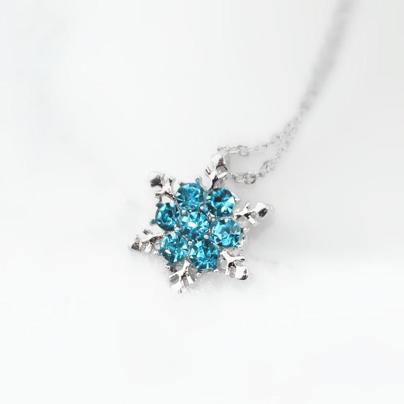 x24 Fashion Jewelry Shiny Blue Crystal Rhinestone Pendant Necklace Beautiful Snowflake Flowerintothea-intothea