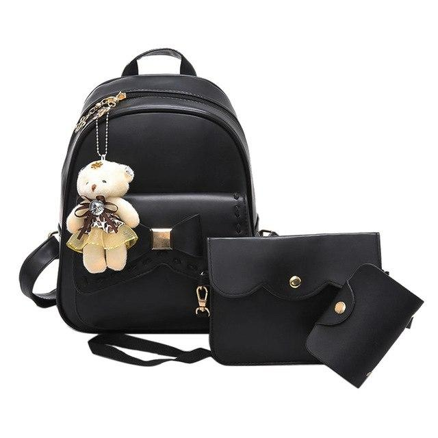 3pcs Bowknot Backpack Women School Bags for Teenage Girls Crossbody Bag Leatherintothea-intothea