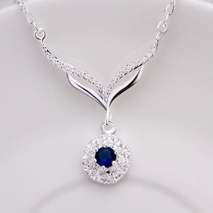 2017 hot 925 sterling silver jewelry necklace leafage round blue stone crystalintothea-intothea