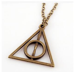 Deathly Hallows Charms Pendant Necklaces Movie Trendy Triangle Long Chain Necklace 3intothea-intothea