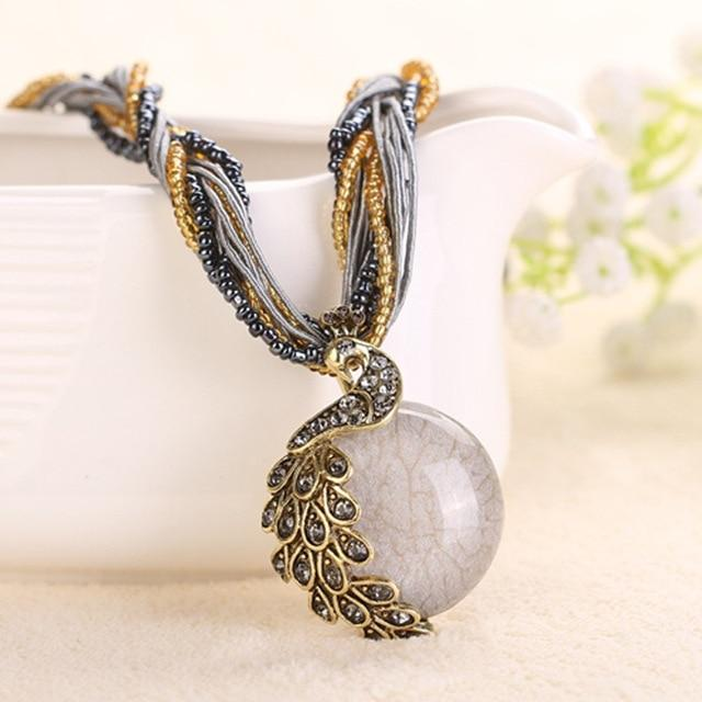 Cindiry Women Necklaces Female Clavicle Short Chain Fashion Stone Pendant Necklaces Peacockintothea-intothea