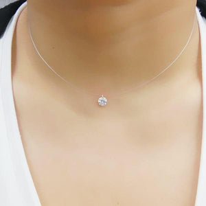 New 925 Silver Transparent Fishing Line Necklace Clear Zircon Pendant Sparkling Chokerintothea-intothea