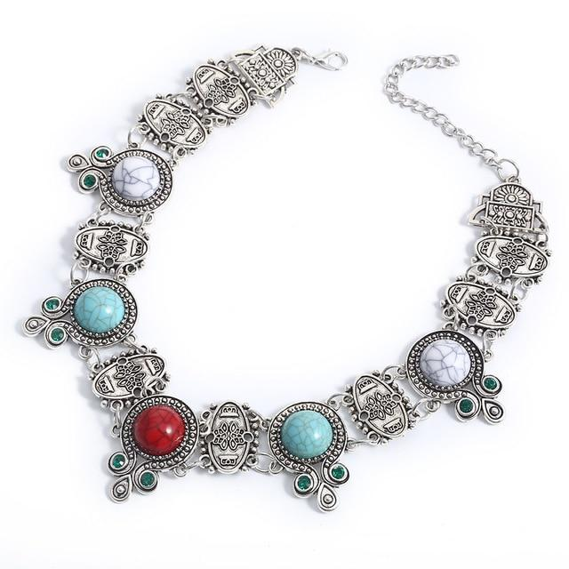 Match-Right Women Trendy Multi-Color Metal Statement Necklace with Acrylic Stone forintothea-intothea
