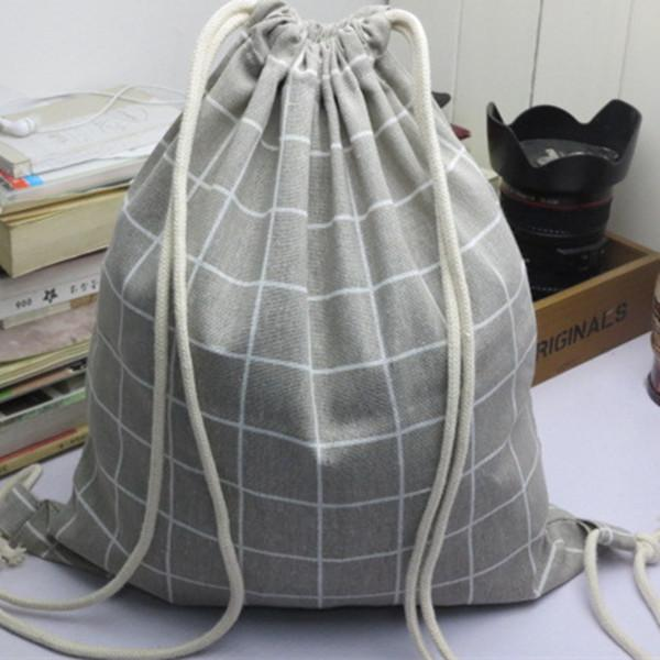 YILE Cotton Linen Drawstring Backpack Travel Bag Student Book Bag Shoes Bagintothea-intothea