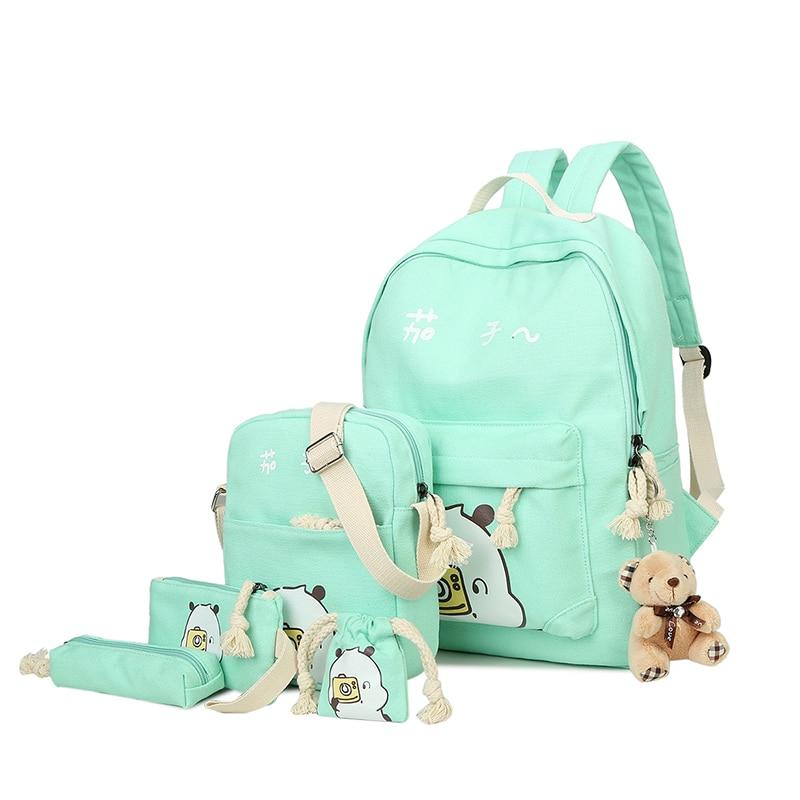 6 Sets Girls Backpack Women Students Schoolbag Cute Fruit Printing Canvas Schoolintothea-intothea