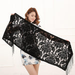 2017 New 10 Color Floral Print Long Scarf Winter Burnout Velvet Shawlintothea-intothea