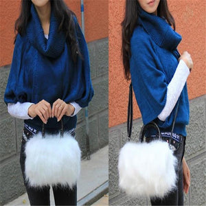 2017 Fashion Women's Bag PU Leather & Faux Fur Tote Clutch Shoulderintothea-intothea