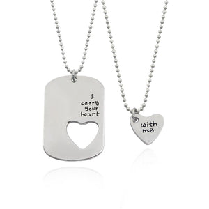 "2 PCS Fashion Couple Necklace Set Lettering ""I Carry Your Heart Withintothea-intothea"
