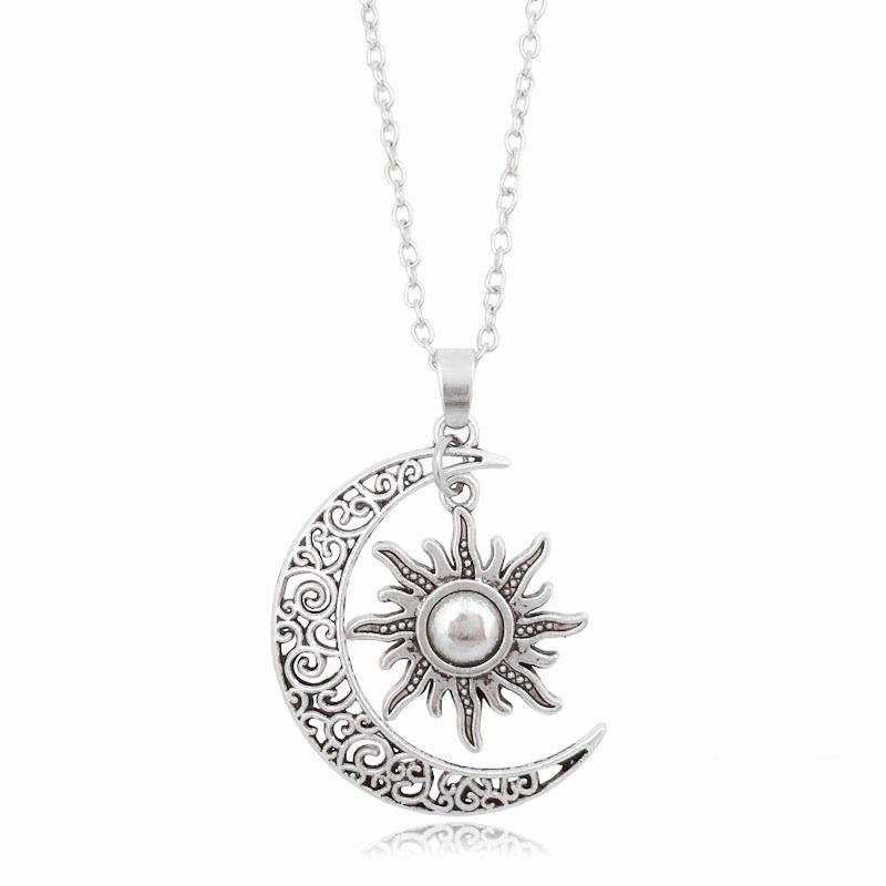 New Vintage Sun Moon Pendant Necklace Silver Crescent Moon Chain Necklacesintothea-intothea