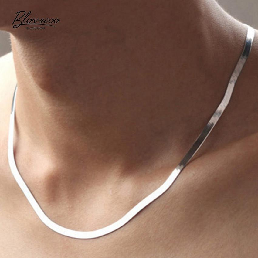 Ms. 2016 new silver necklace flat snake bone chain men domineering fashionintothea-intothea