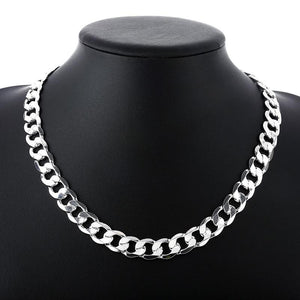 "Silver 925 10 mm 22 ""24"" Men's Figaro chain necklace for menintothea-intothea"