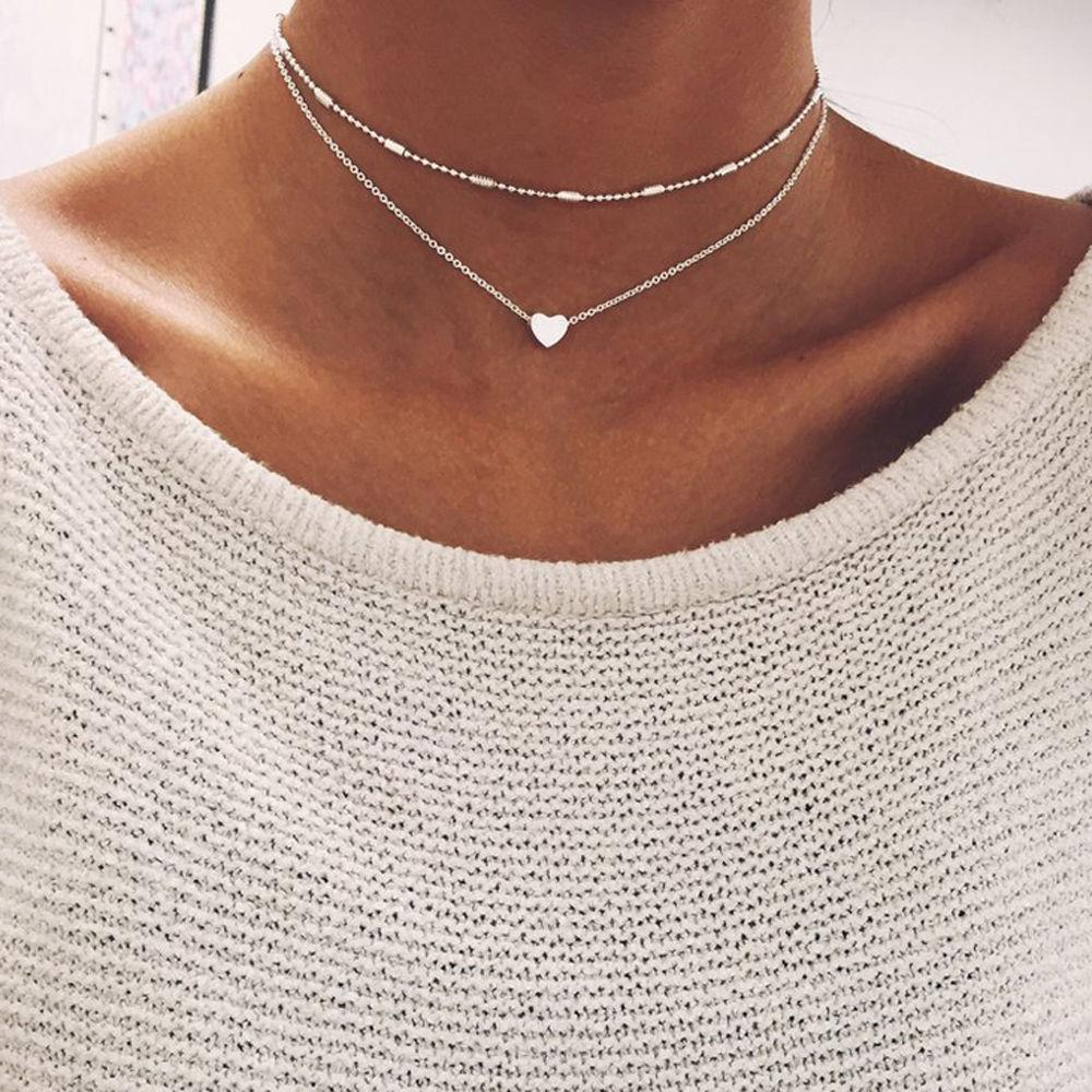 Hot Fashion 2 Layers Heart Pendant Choker Necklaces Chain Necklaces Collar Necklaceintothea-intothea