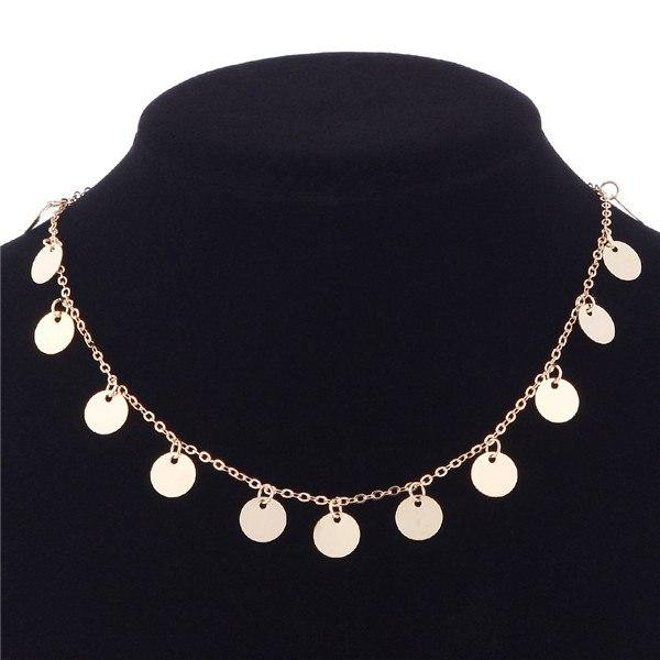 1Pc Fashion Boho Crystal Tassels Sequins Round Beads Necklace Choker Collar Chainintothea-intothea