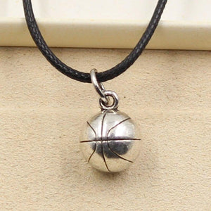 New Fashion Tibetan Silver Pendant basketball Necklace Choker Charm Black Leather Cordintothea-intothea