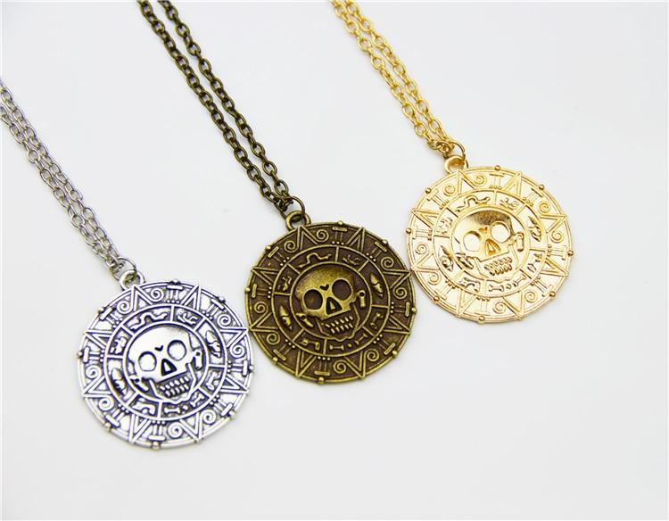 Hot Pirates Of The Caribbean Necklace Jack Sparrow Aztec Coin Medallionintothea-intothea