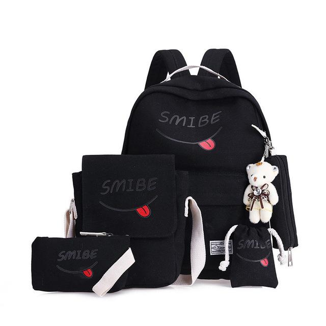 4 Pcs/set Women Backpack School Bags For Teenage Girls Canvas Backpack Femaleintothea-intothea