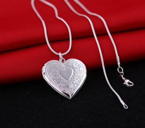 Romantic 1mm snake 18inch silver picture frame charm Heart Locket photo pendantintothea-intothea