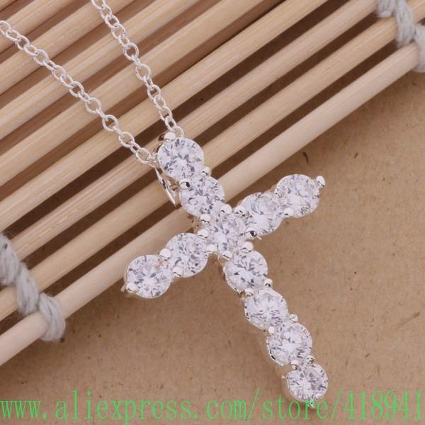 2016 New Arrival Wholesale Silver Plated Necklace 925-Sterling-Silver Jewelry Pendant Cross Fashionintothea-intothea