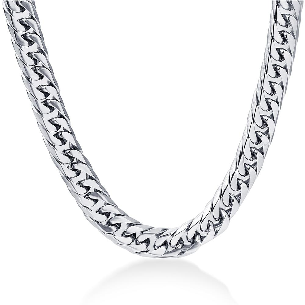 NIBA 8mm wide Men's Necklace 24inch Stianless Steel silver plated men chainintothea-intothea