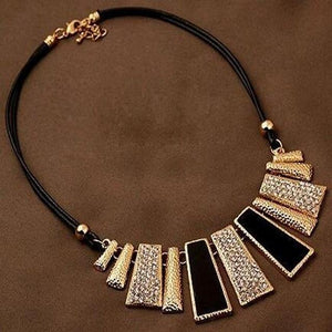Fashion Design Beads Enamel Bib Leather Braided Rope Chain Necklace Geometric Statementintothea-intothea