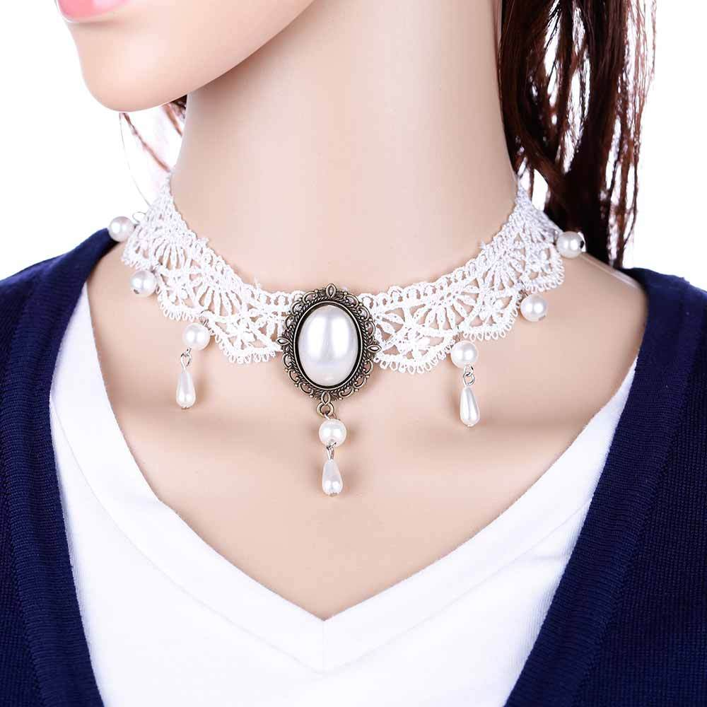 White Lace Collar Necklace Women Chocker Tattoo Asphyxist Retro Collier Femme Statementintothea-intothea