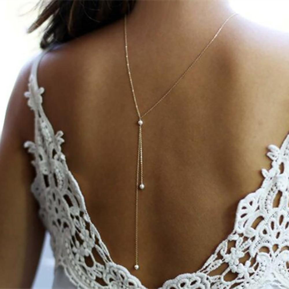 2017 New Simulated Pearl Backdrop Necklaces Back Chain Jewelry For Women Partyintothea-intothea