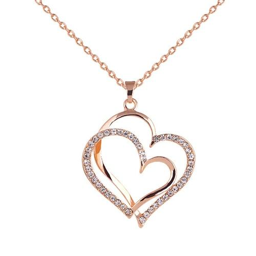 Bluelans Women's Romantic Double Love Heart Rhinestone Choker Chain Necklace Jewelry Giftintothea-intothea