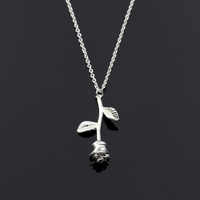 Stainless Steel Chain Gold Rose Flower Charm Necklace Pendant Women Choker Bohointothea-intothea