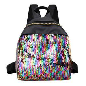 Women Sequins Backpack BlingBling School Bags for Teenage Girls Ruckack Mochila Smallintothea-intothea