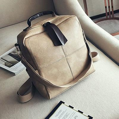 2017 Women's PU Leather Stitching Backpack School bag Teenage Girls Backpacksintothea-intothea