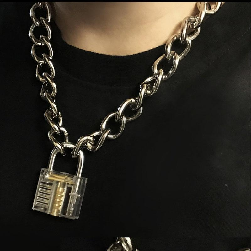 Men Women Unisex Metal Chain Choker Necklace Mechanical Steampunk Transparent Clear Squareintothea-intothea