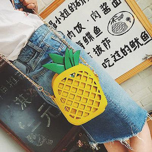 Women Cross Body Cute Pineapple Shoulder Bags Girls Pineapple Totes Handbags Chainintothea-intothea