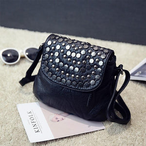 Mini Crossbody Bags Women's Flap Black rivet Bag Handbag PU Sac aintothea-intothea