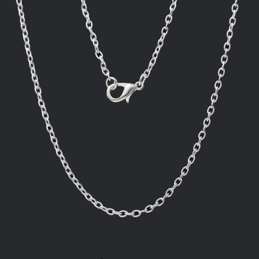 Jewelry Metal Alloy Basic Necklace Silver color Cable Chains Necklaces withintothea-intothea