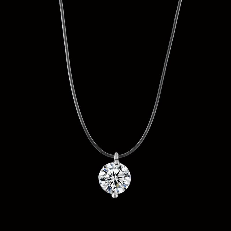 x89 Fashion Wedding Jewelry Shiny Zircon Crystal Pendant Necklace And Invisible Transparentintothea-intothea