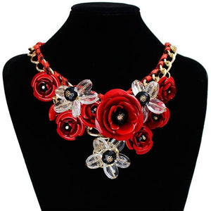 F&U Colorful Flower Jewelry wholesale for women maxi necklace new design fashionintothea-intothea