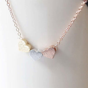 Simple Trendy Rose Gold Silver Color Three Heart Pendant Necklace Fashion Womenintothea-intothea