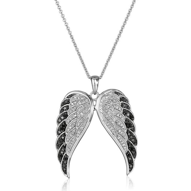 Creative Fashion pendant stainless steel chain Crystal Silver Angel Wings necklace Forintothea-intothea