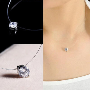 Homod Silver Color Dazzling Zircon Necklace Transparent Invisible Fishing Line Clavicle Chainintothea-intothea